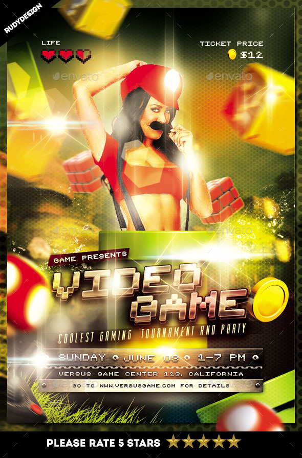 Video Games Party Flyer Template By Rudydesign  Graphicriver
