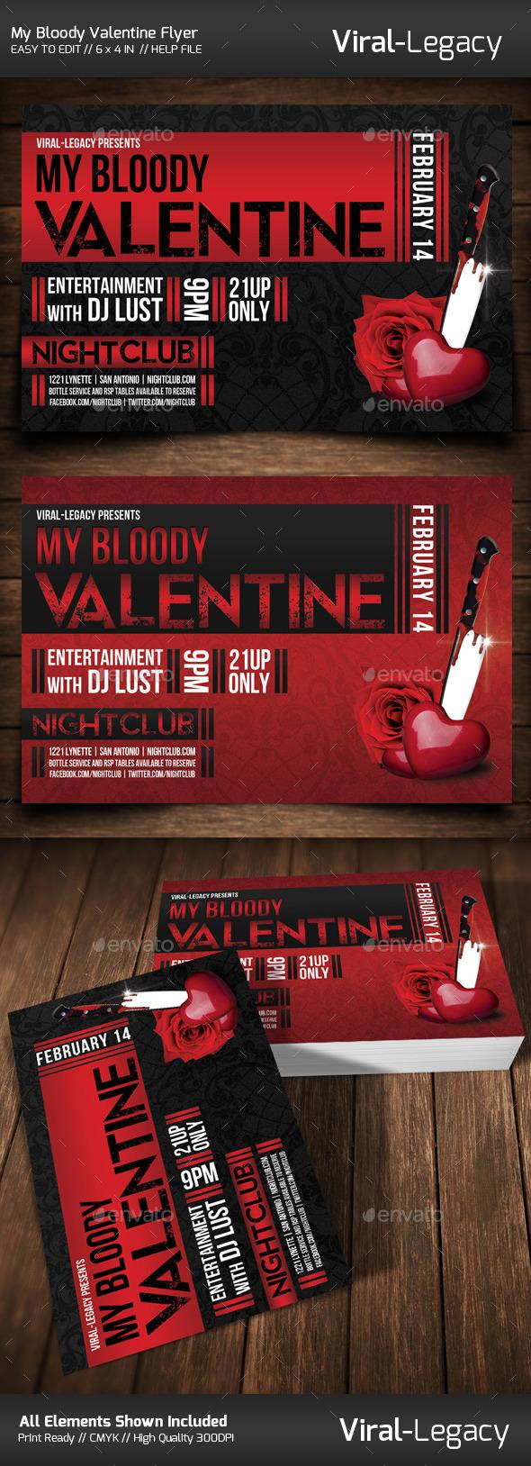 My Bloody Valentine Flyer - Flyers Print Templates