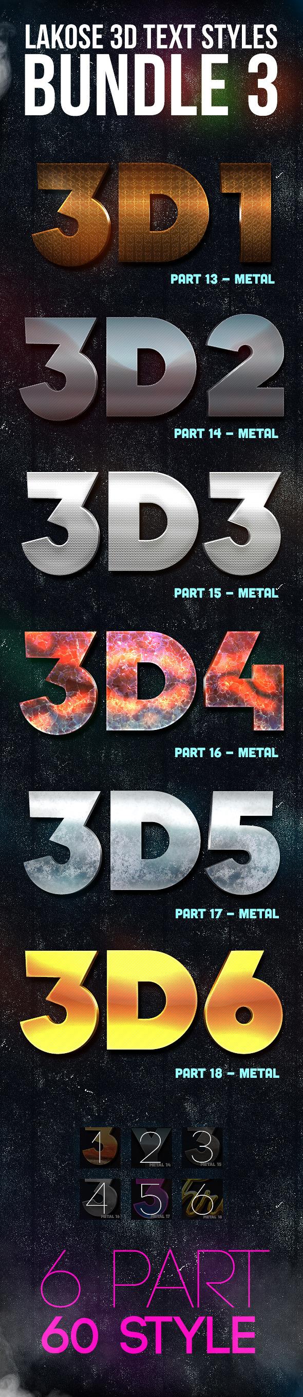 Lakose 3D Text Styles Bundle 3 - Text Effects Styles