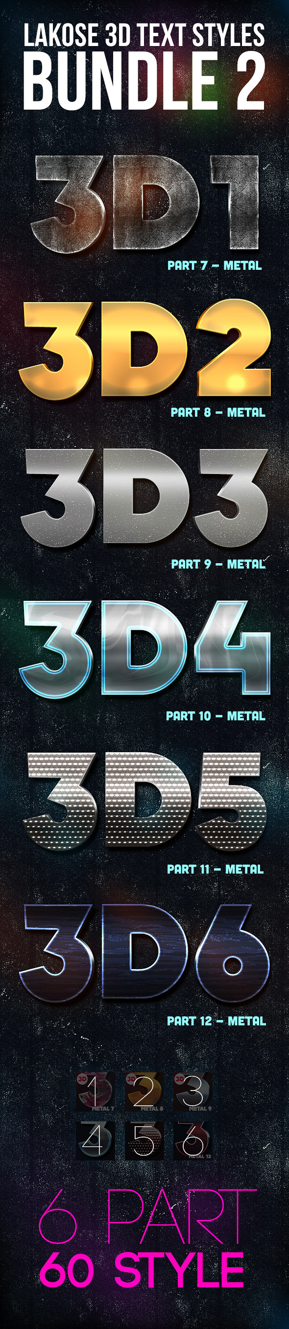 Lakose 3D Text Styles Bundle 2 - Text Effects Styles
