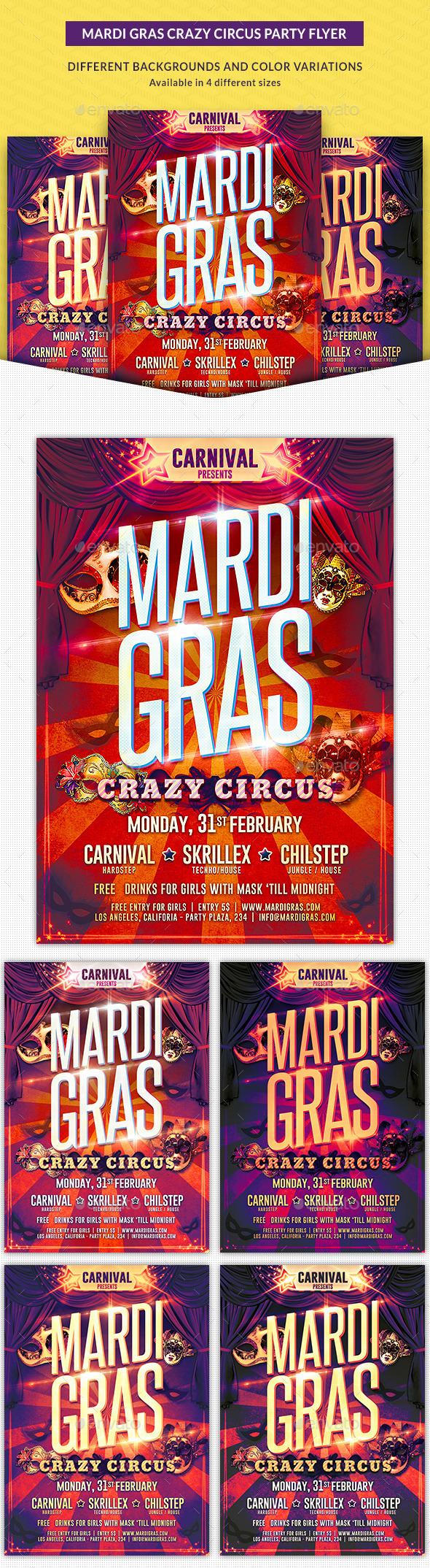 Mardi Gras Crazy Circus Party Flyer - Clubs & Parties Events