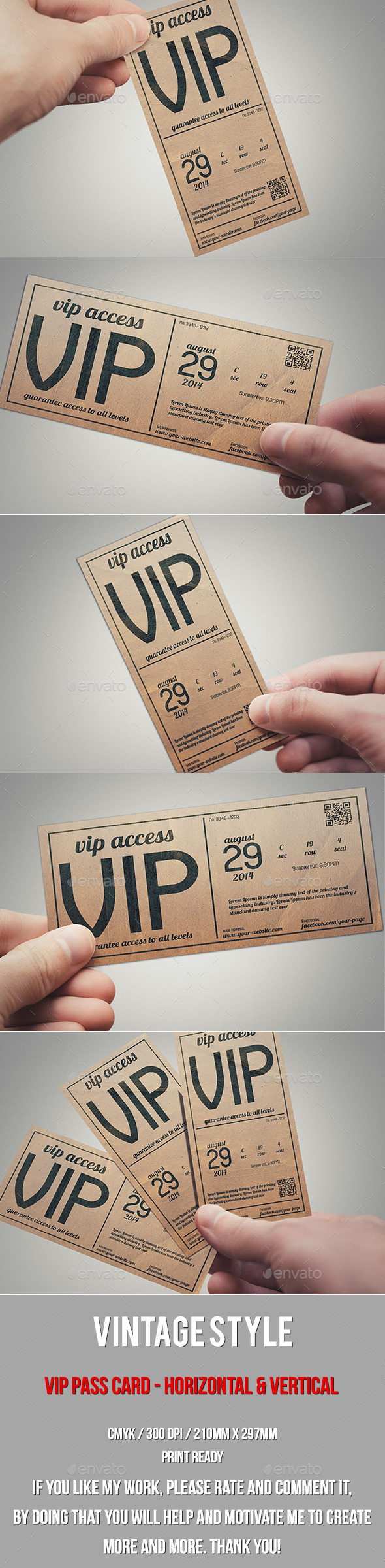 vintage style vip pass card by tzochko graphicriver. Black Bedroom Furniture Sets. Home Design Ideas