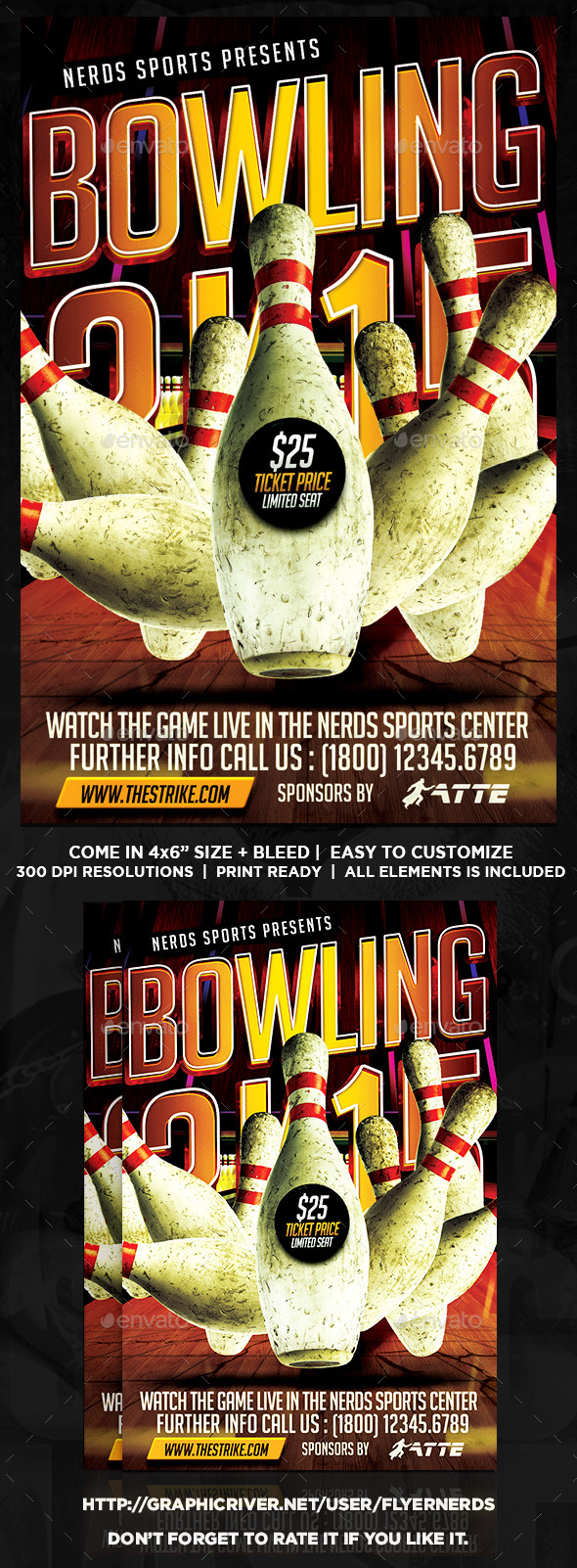 Bowling 2K15 Championships Sports Flyer