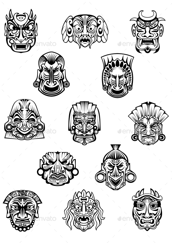 Ceremonial Masks - Tattoos Vectors