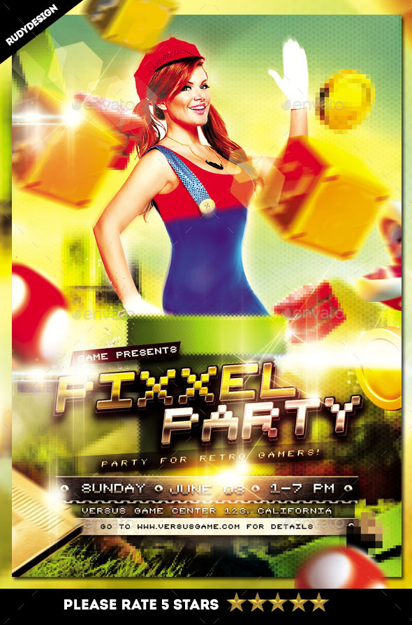 Pixel Retro Video Games Party Flyer Template By Rudydesign