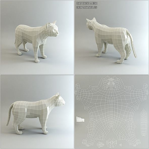 Low Poly Base Mesh Cat - 3DOcean Item for Sale