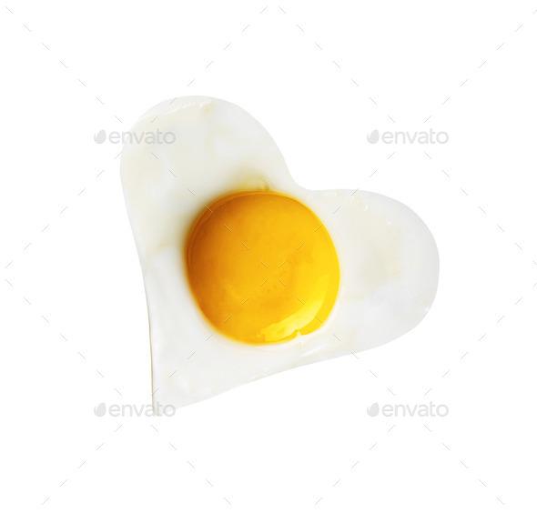 Fried egg like heart - Stock Photo - Images