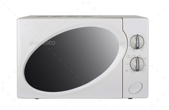 microwave oven on a white background - Stock Photo - Images