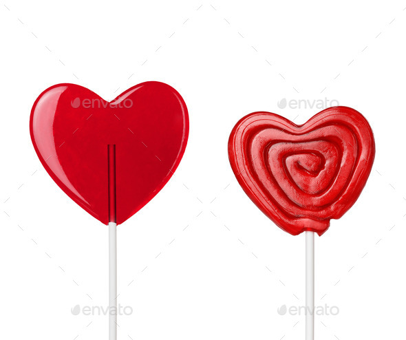 two red heart-lollipops isolated - Stock Photo - Images