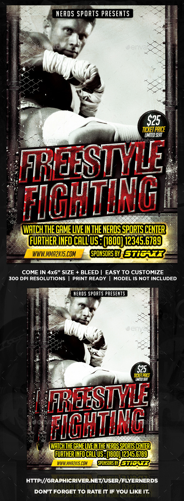Freestyle Fighting Championships Sports Flyer - Sports Events