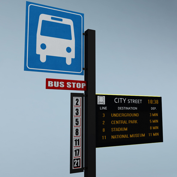 Electronic bus schedule - 3DOcean Item for Sale