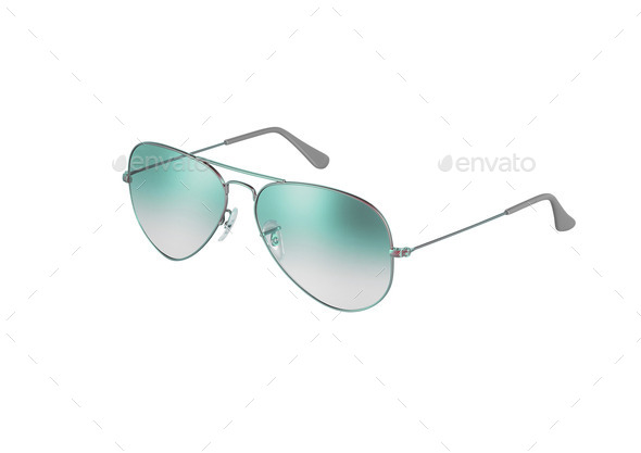 green sunglasses isolated on white - Stock Photo - Images