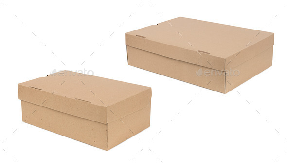 Closed shipping two cardboard boxes - Stock Photo - Images
