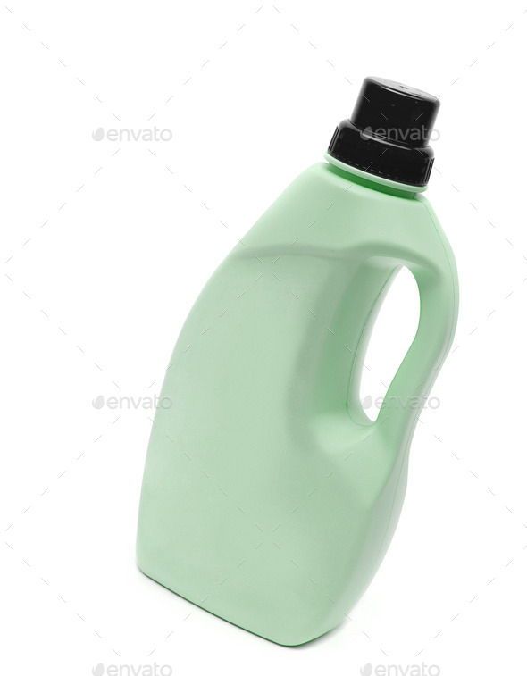 green plastic bottle isolated on a white background - Stock Photo - Images