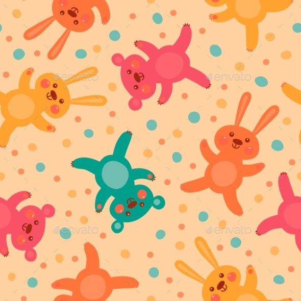 Kids Seamless Pattern with Bears and Hares - Patterns Decorative