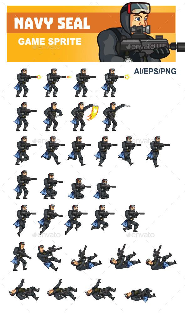 Navy Seal Game Sprite By Gamespritez Graphicriver