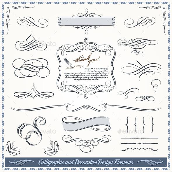 Calligraphic and Decorative Design Elements  - Flourishes / Swirls Decorative