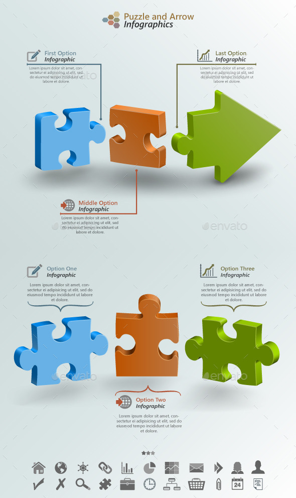 Arrow Puzzle Infographic Background - Infographics