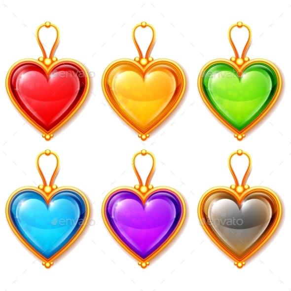 Heart Pendants - Man-made Objects Objects
