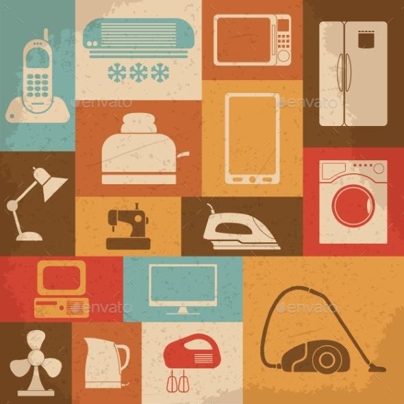 Retro Home Appliances Icons - Technology Conceptual