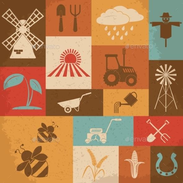 Farming Retro Icons - Technology Conceptual