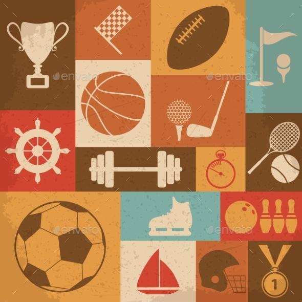 Retro Sports Icons - Sports/Activity Conceptual