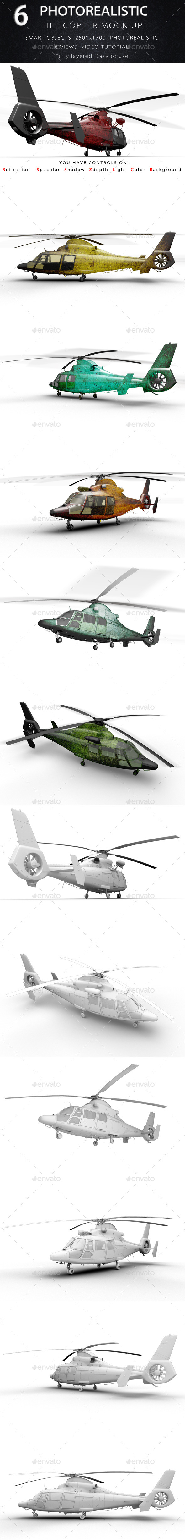 Helicopter Mock Ups - Product Mock-Ups Graphics