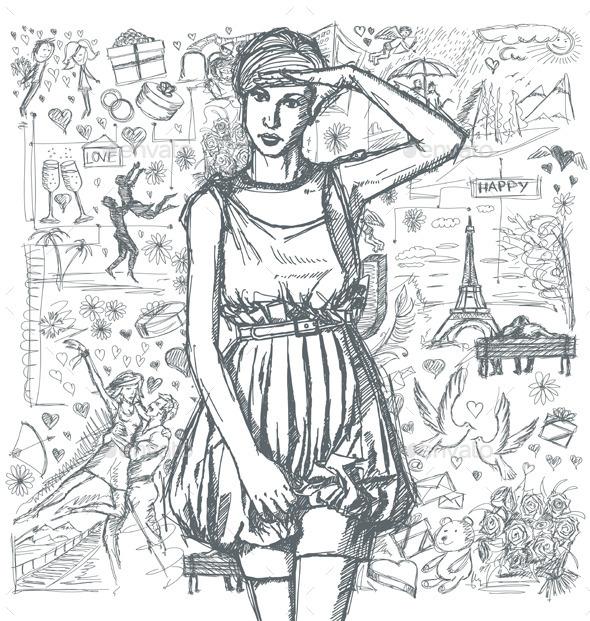 Love Story Sketch - Valentines Seasons/Holidays
