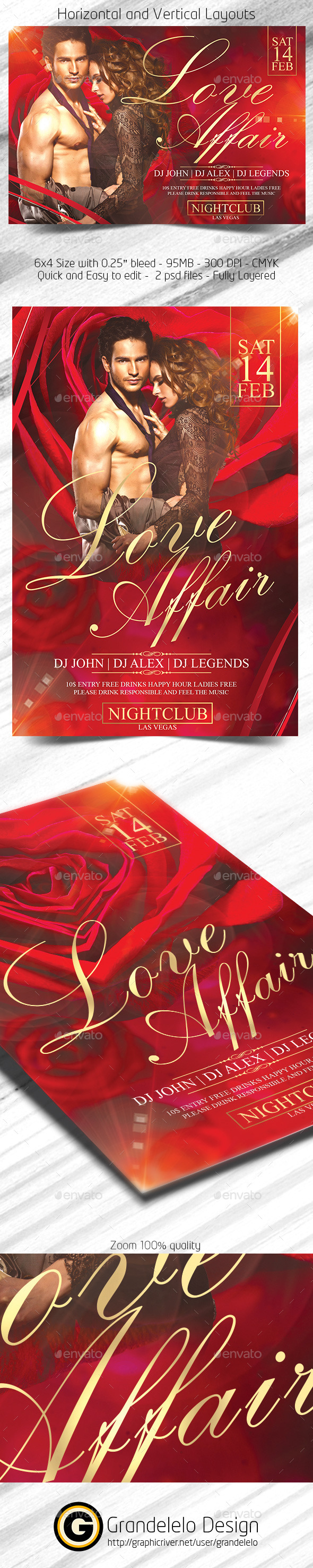 Love Affair Valentines Day Flyer  - Clubs & Parties Events