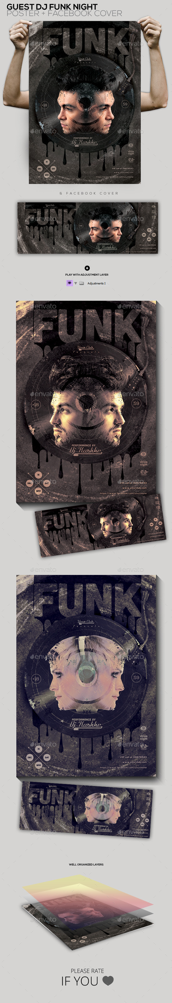 Funk Guest Dj Party Flyer/Poster/Facebook Cover - Clubs & Parties Events
