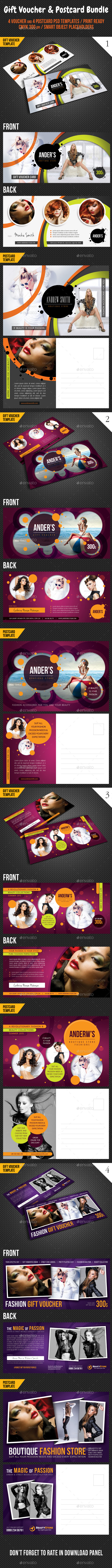 8 in 1 Fashion Gift Voucher and Postcard Bundle - Cards & Invites Print Templates