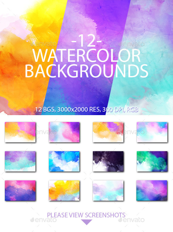 12 Watercolor Backgrounds - Backgrounds Graphics