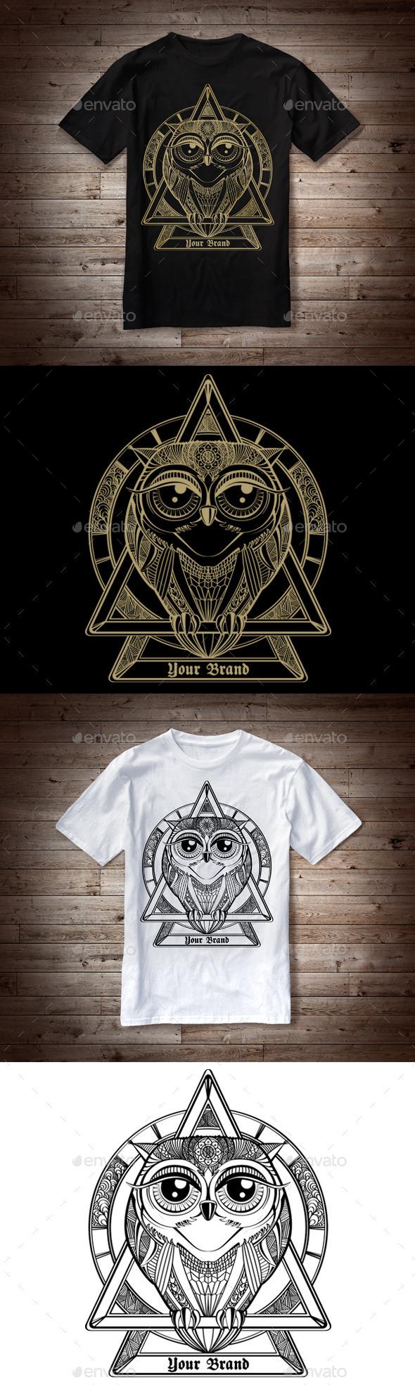 T-Shirt Illustration Owl Theme - Designs T-Shirts