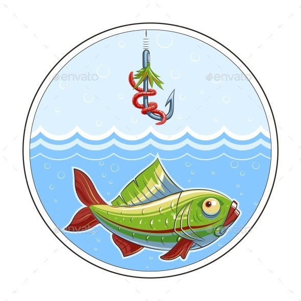 Fishing. Fish in Water and Fishhook - Animals Characters