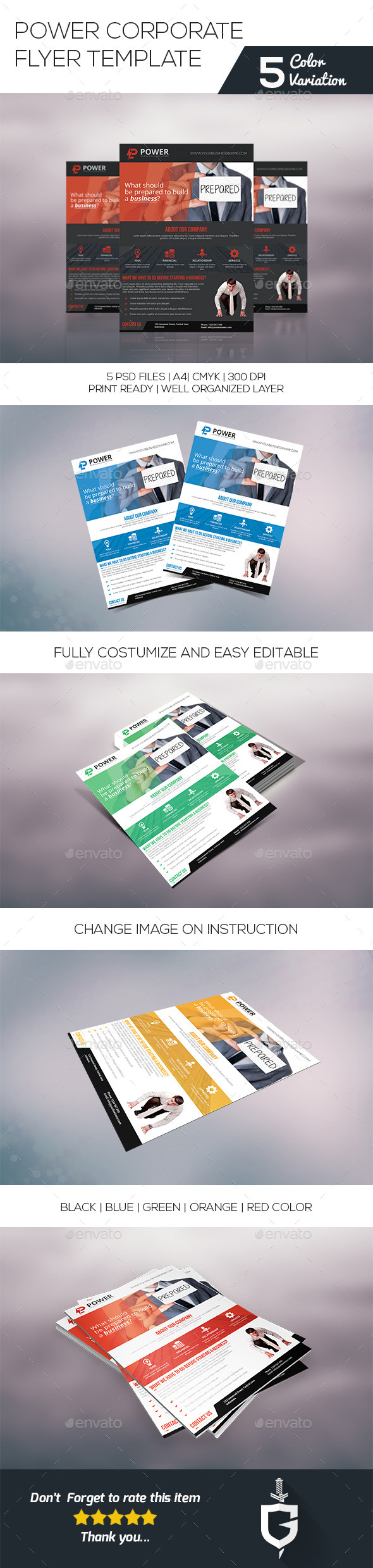 Power Corporate Flyer Template - Corporate Flyers