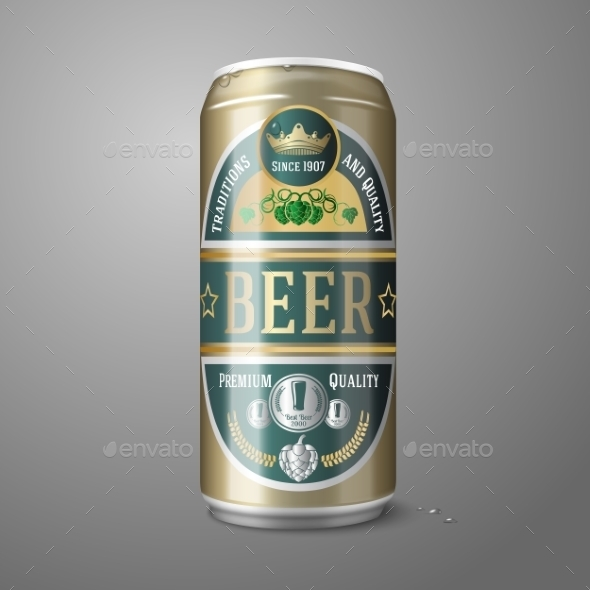 Golden Beer Can with Label - Man-made Objects Objects