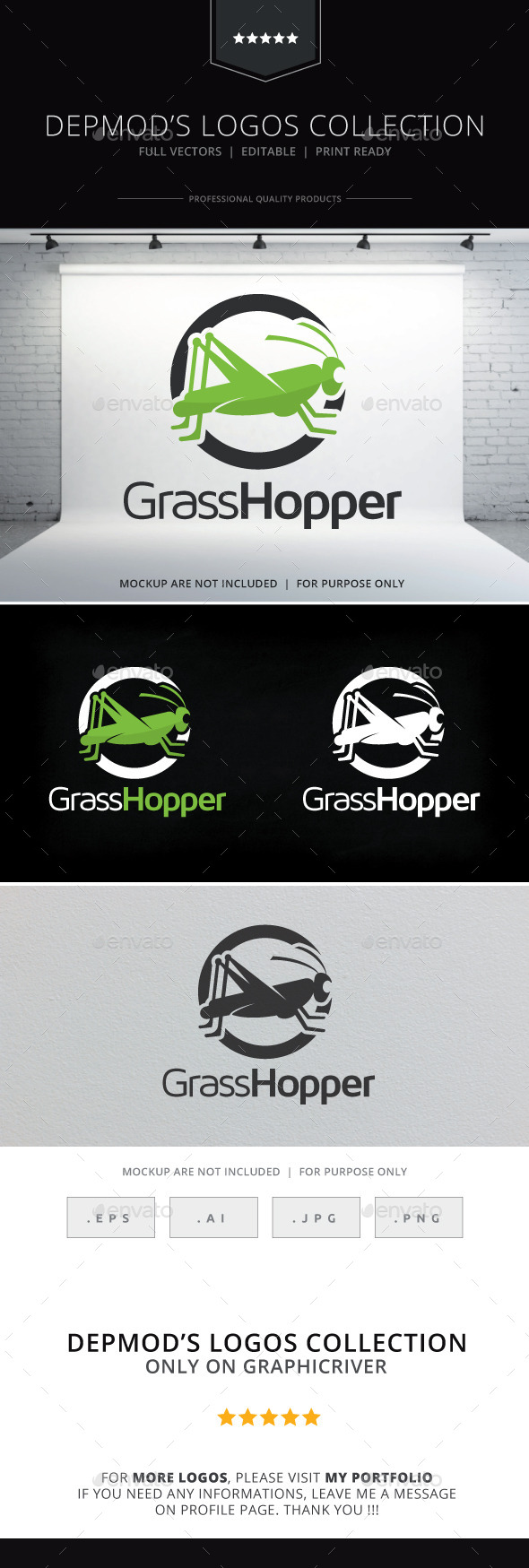 Grasshopper Logo - Animals Logo Templates