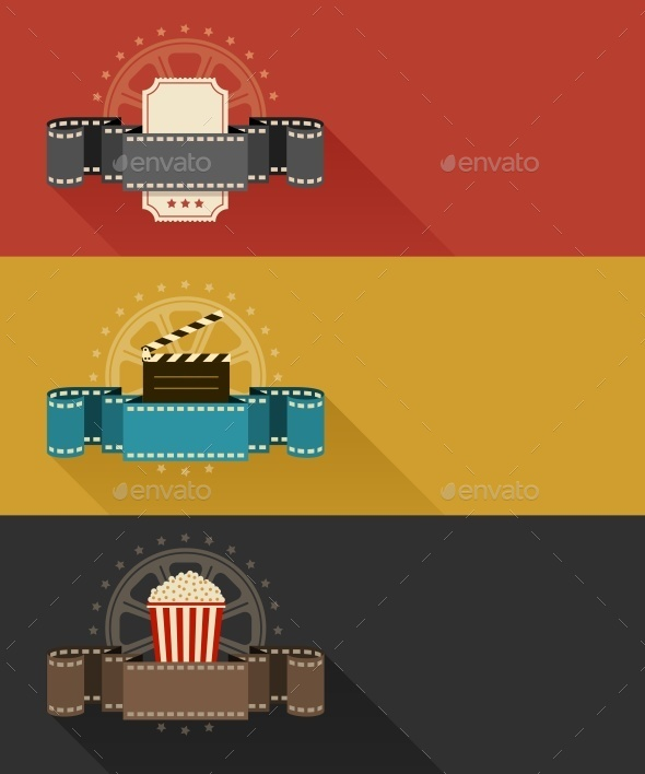 Retro Movie Theater Posters Flat Design - Web Elements Vectors
