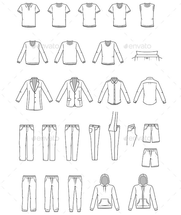 Garment Illustrations of Men's Clothes - Man-made Objects Objects