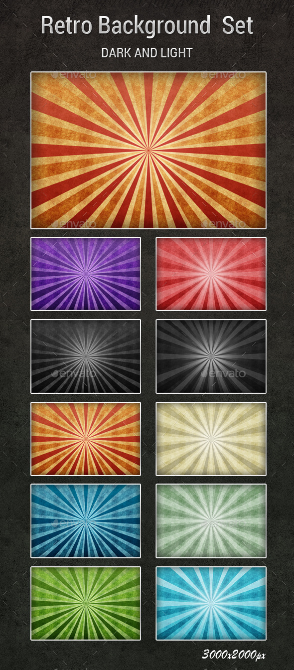 Retro Background set - Backgrounds Graphics