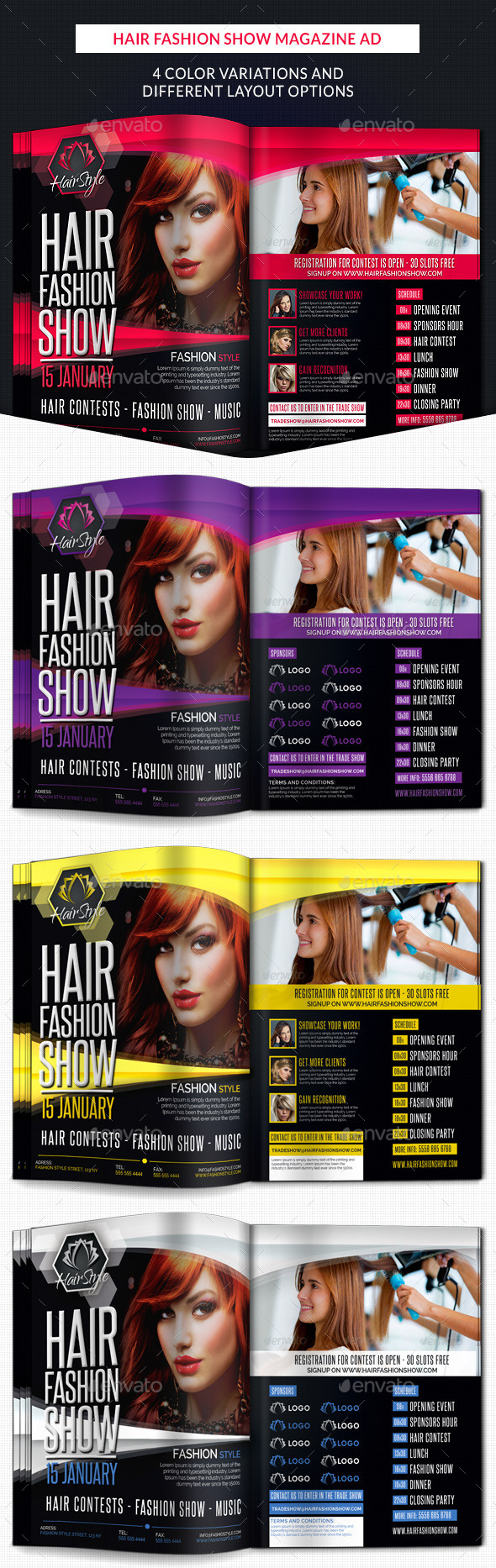 Hair Fashion Show Promotion Magazine Ad - Corporate Flyers