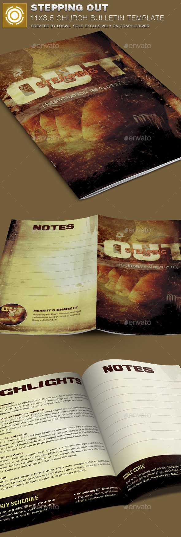 Stepping Out Church Bulletin Template - Brochures Print Templates