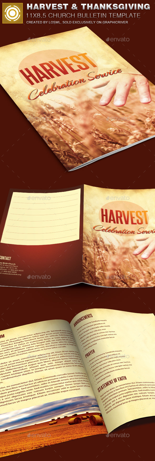 Harvest and Thanksgiving Church Bulletin Template - Informational Brochures