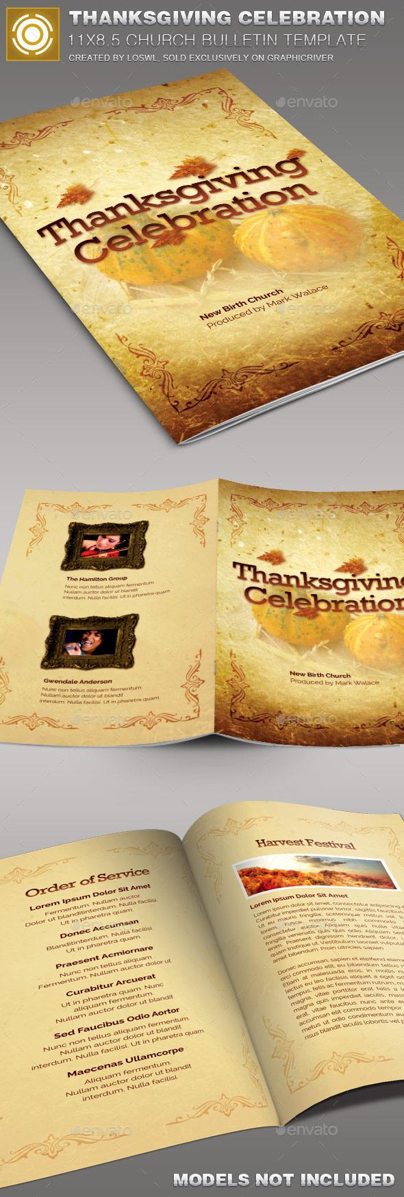 Thanksgiving Celebration  Church Bulletin Template - Informational Brochures