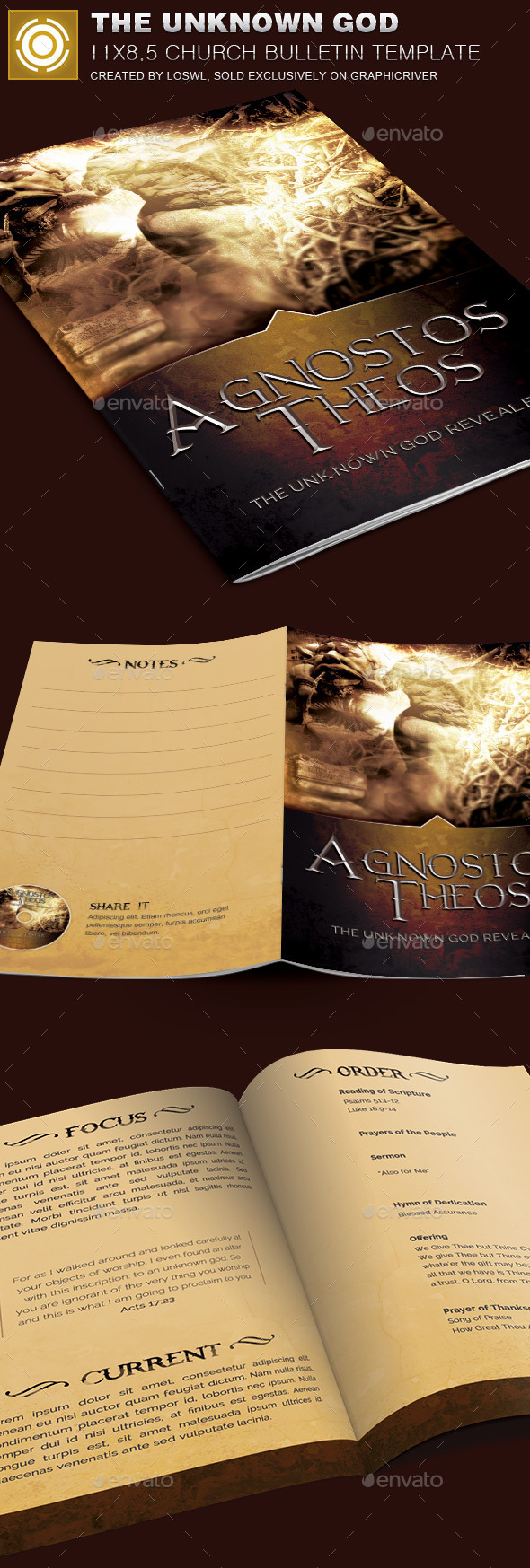 The Unknown God Church Bulletin Template - Informational Brochures