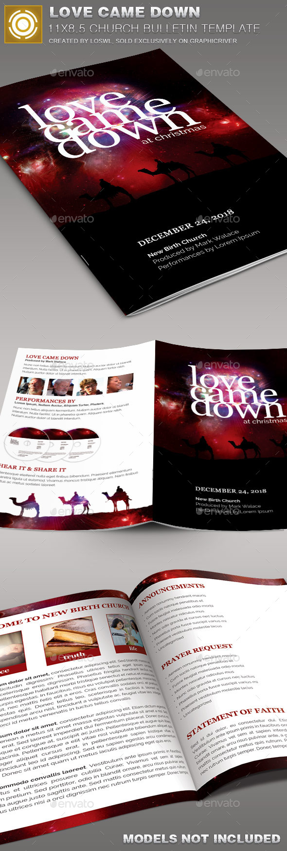 Love Came Down Church Bulletin Template - Informational Brochures