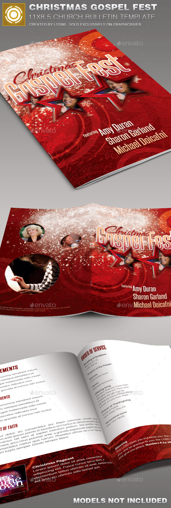 Christmas  Gospel Fest Church Bulletin Template - Informational Brochures