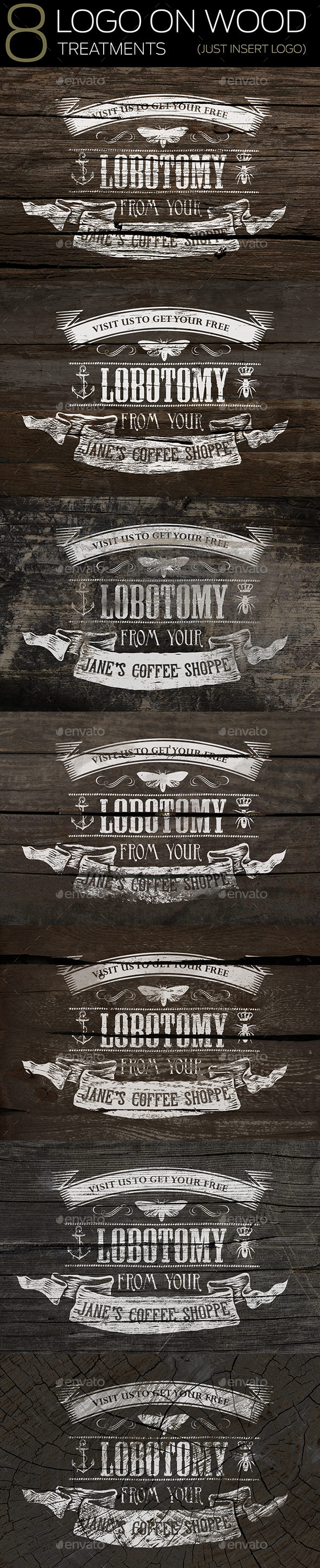 8 Logo On Wood Mockups - Miscellaneous Print