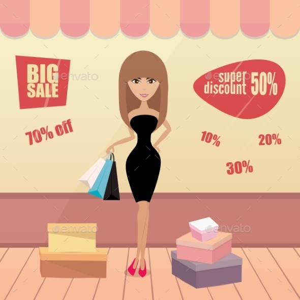 Girl or Woman Shopping - Retail Commercial / Shopping