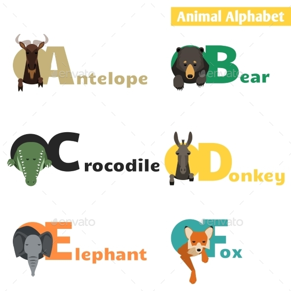 Animal Alphabet Set 1 - Animals Characters